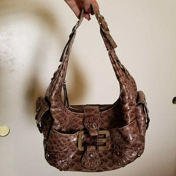 818370206182 Brown Faux Alligator Guess Hobo Bag